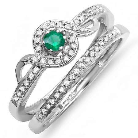 0.25 Carat (ctw) Sterling Silver Round White Diamond And Green Emerald Ladies Bridal Promise Ring Set Matching Band 1/4 CT