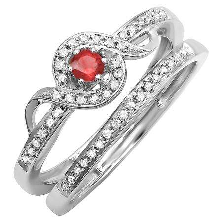 0.25 Carat (ctw) Sterling Silver Round White Diamond And Ruby Ladies Bridal Promise Ring Set Matching Band 1/4 CT