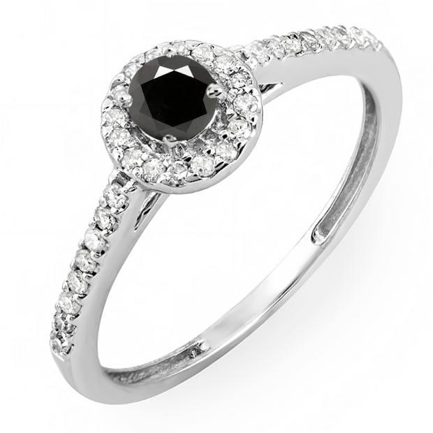 0.50 Carat (ctw) 14k White Gold Round Cut White & Black Diamond Ladies Engagement Bridal Halo Ring 1/2 CT