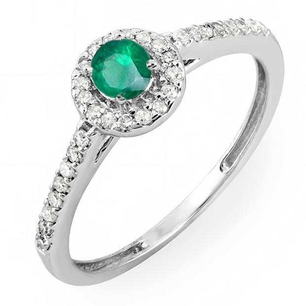 0.50 Carat (ctw) 18k White Gold Round Cut White Diamond & Green Emerald Ladies Engagement Bridal Halo Ring 1/2 CT