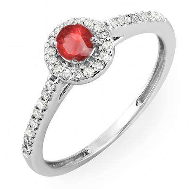 0.50 Carat (ctw) 18k White Gold Round Cut White Diamond & Ruby Ladies Engagement Bridal Halo Ring 1/2 CT