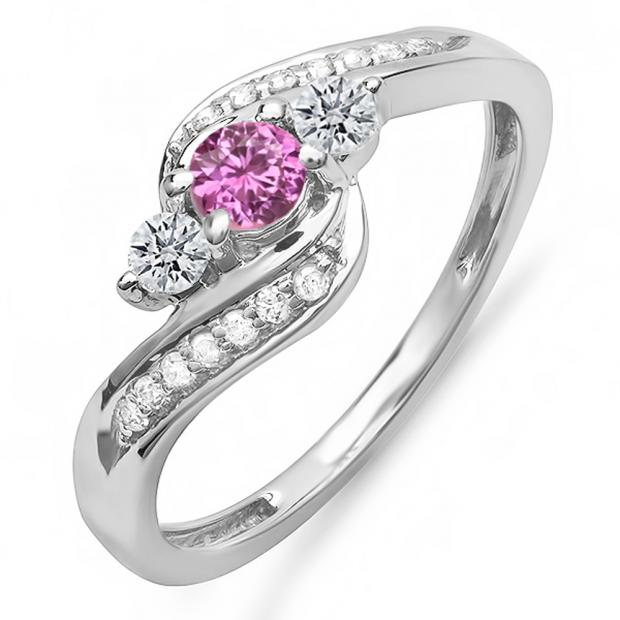 0.50 Carat (ctw) 10k White Gold Round Pink Sapphire & White Diamond Ladies Swirl Engagement 3 Stone Bridal Ring 1/2 CT