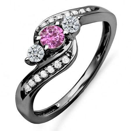 0.50 Carat (ctw) Black Rhodium Plated 10K Gold Round Pink Sapphire & White Diamond Ladies Swirl Engagement 3 Stone Bridal Ring 1/2 CT