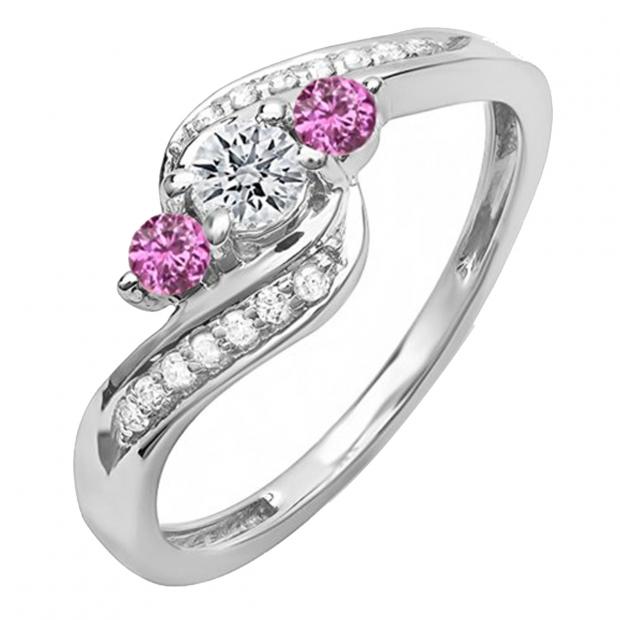0.50 Carat (ctw) 10k White Gold Round Pink Sapphire And White Diamond Ladies Bridal Swirl Engagement 3 Stone Ring 1/2 CT
