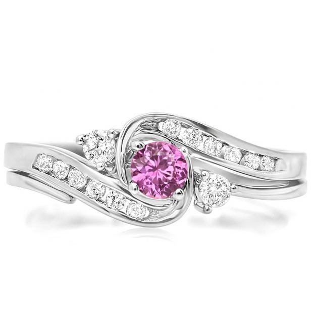 0.50 Carat (ctw) 10k White Gold Round Pink Sapphire & White Diamond Ladies Swirl Bridal Engagement Ring With Matching Band Set 1/2 CT