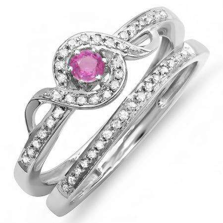 0.25 Carat (ctw) Sterling Silver Round Pink Sapphire & White Diamond Ladies Bridal Twisted Style Promise Ring With Matching Band Set 1/4 CT