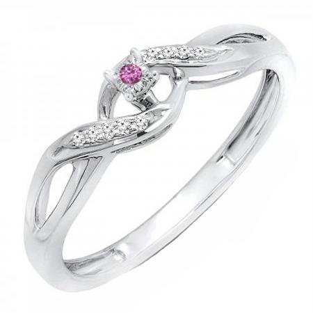 0.06 Carat (ctw) Sterling Silver Round Pink Sapphire & White Diamond Ladies Crossover Swirl Bridal Promise Engagement Ring