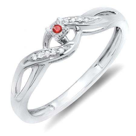 0.06 Carat (ctw) Sterling Silver Round Ruby & White Diamond Ladies Crossover Swirl Bridal Promise Engagement Ring