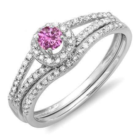 0.45 Carat (ctw) 18k White Gold Round Pink Sapphire & White Diamond Ladies Bridal Halo Style Engagement Ring With Wedding Band Set 1/2 CT