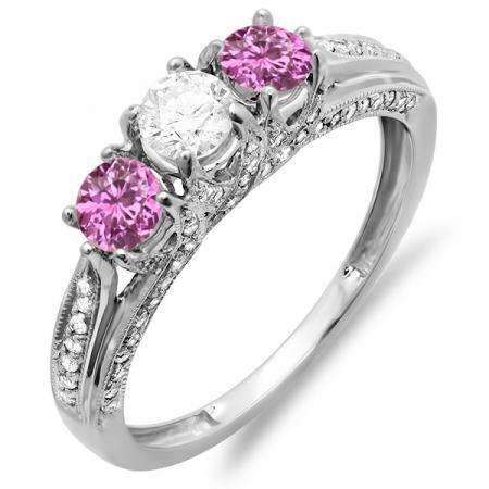 1.00 Carat (ctw) 10k White Gold Round White Diamond And Pink Sapphire Ladies Vintage Bridal 3 Stone Engagement Ring 1 CT