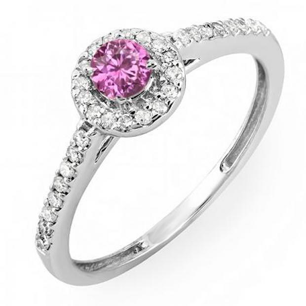 0.50 Carat (ctw) 18k White Gold Round Cut Pink Sapphire & White Diamond Ladies Engagement Bridal Halo Ring 1/2 CT