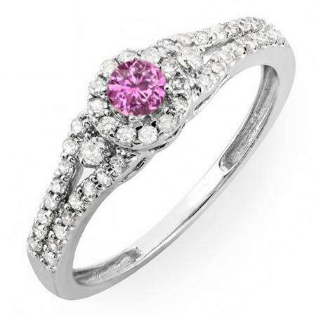 0.50 Carat (ctw) 14k White Gold Round Cut Pink Sapphire & White Diamond Ladies Engagement Halo Style Bridal Ring 1/2 CT