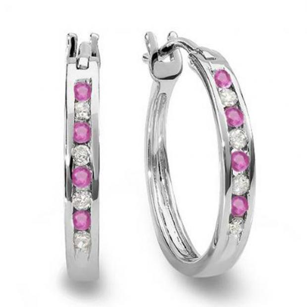 0.20 Carat (ctw) 14K White Gold Round White Diamond & Pink Sapphire Ladies Fine Hoop Earrings 1/5 CT