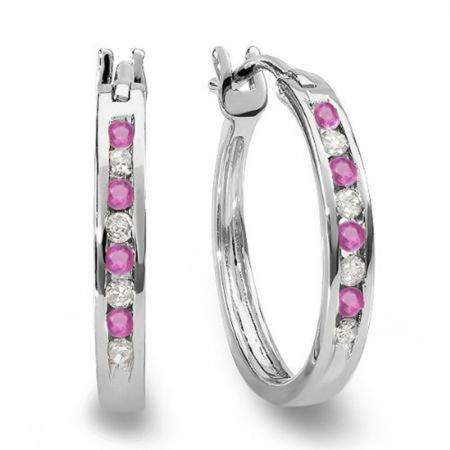 0.20 Carat (ctw) 18K White Gold Round White Diamond & Pink Sapphire Ladies Fine Hoop Earrings 1/5 CT