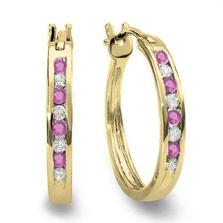 0.20 Carat (ctw) 10K Yellow Gold Round White Diamond & Pink Sapphire Ladies Fine Hoop Earrings 1/5 CT