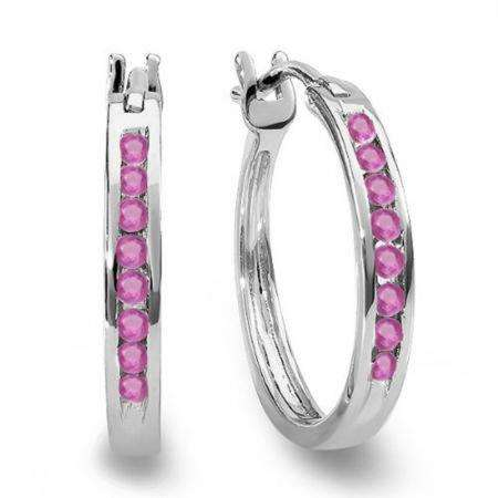 0.20 Carat (ctw) 18K White Gold Round Pink Sapphire Ladies Fine Hoop Earrings 1/5 CT