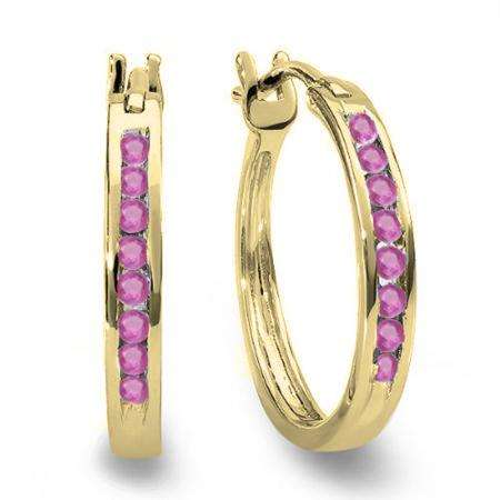 0.20 Carat (ctw) 18K Yellow Gold Round Pink Sapphire Ladies Fine Hoop Earrings 1/5 CT