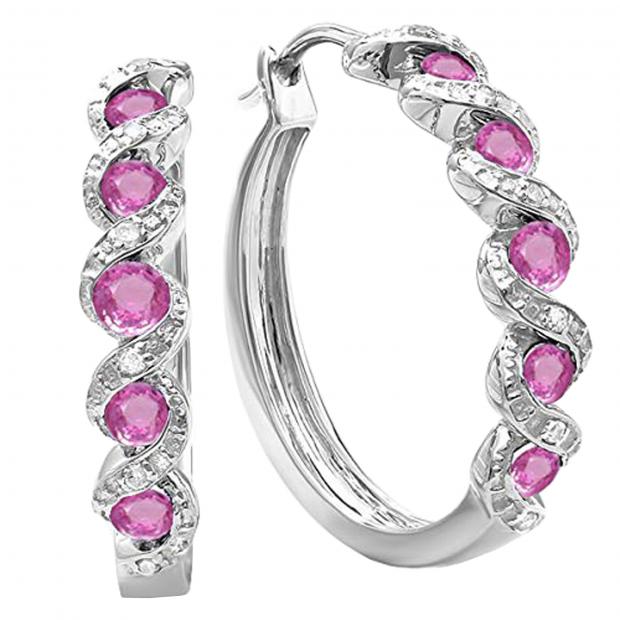 0.40 CT Sterling Silver Round White Diamond Ladies In /& Out Hoop Earrings