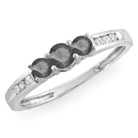 0.35 Carat (ctw) 10k White Gold Round Black & White Diamond Ladies 3 stone Engagement Bridal Ring 1/3 CT