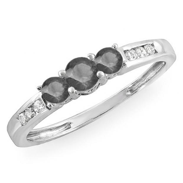 0.35 Carat (ctw) 18k White Gold Round Black & White Diamond Ladies 3 stone Engagement Bridal Ring 1/3 CT