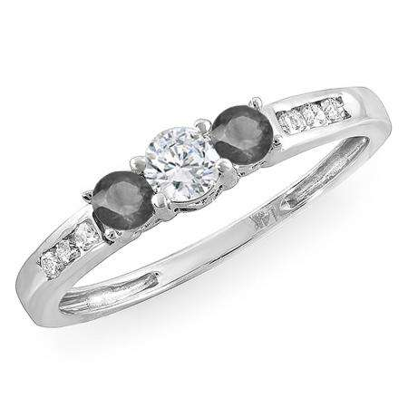 0.35 Carat (ctw) 14k White Gold Round Black & White Diamond Ladies 3 stone Engagement Bridal Ring 1/3 CT