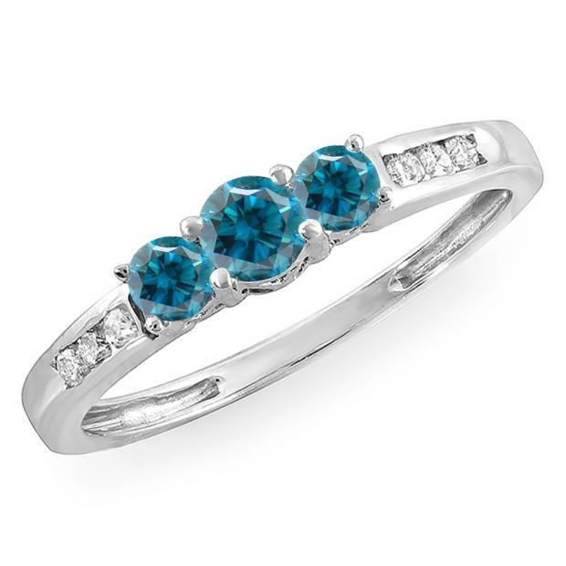 0.35 Carat (ctw) 18k White Gold Round Blue & White Diamond Ladies 3 stone Engagement Bridal Ring 1/3 CT