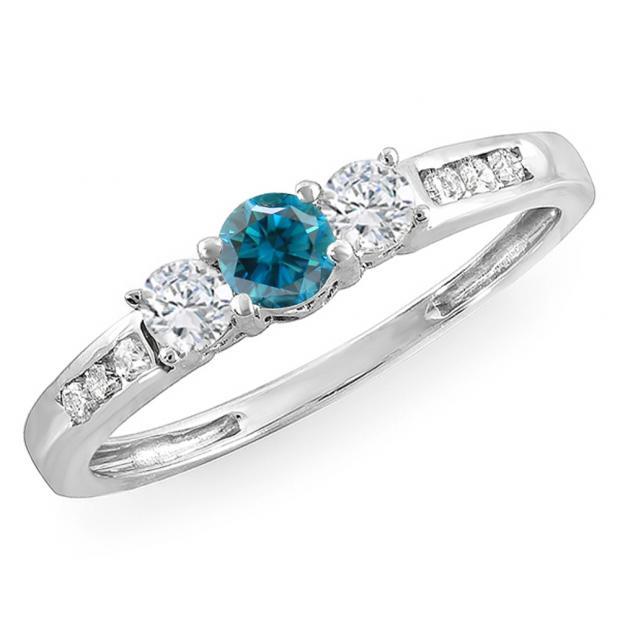 0.35 Carat (ctw) 14k White Gold Round Blue & White Diamond Ladies 3 stone Engagement Bridal Ring 1/3 CT
