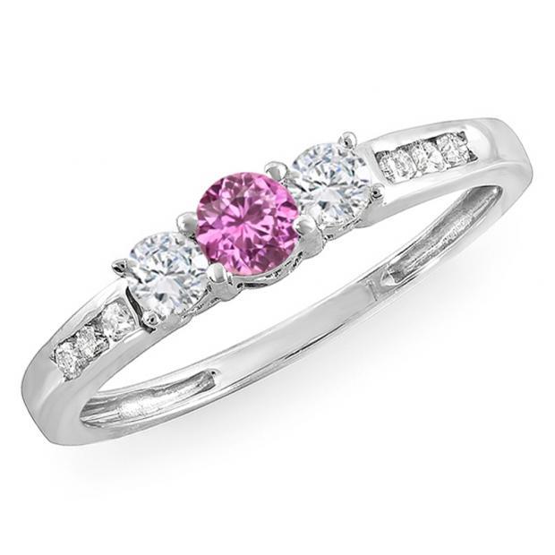 0.35 Carat (ctw) 18k White Gold Round Pink Sapphire & White Diamond Ladies 3 stone Engagement Bridal Ring 1/3 CT