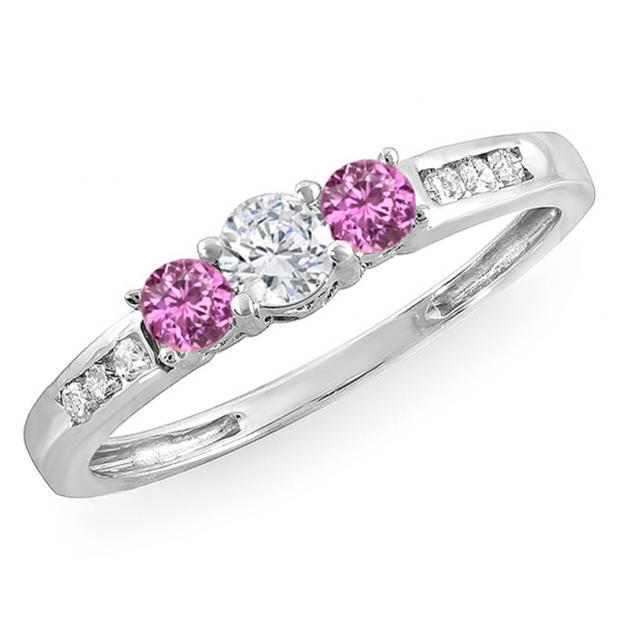 0.35 Carat (ctw) 10k White Gold Round Pink Sapphire & White Diamond Ladies 3 stone Engagement Bridal Ring 1/3 CT