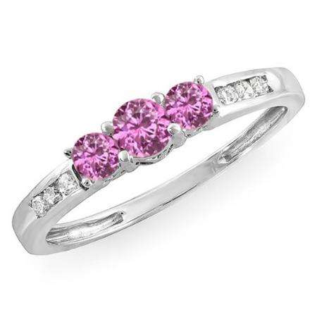 0.35 Carat (ctw) 10k White Gold Round Pink Sapphire & White Diamond Ladies 3 stone Engagement Bridal Ring 1/3 CT