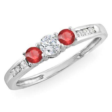0.35 Carat (ctw) 14k White Gold Round Ruby & White Diamond Ladies 3 stone Engagement Bridal Ring 1/3 CT