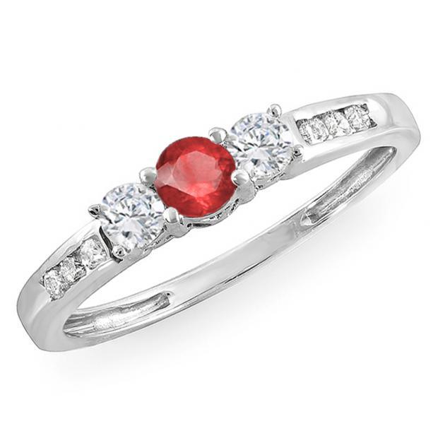 0.35 Carat (ctw) 14k White Gold Round Ruby & White Diamond Ladies 3 stone Engagement Bridal Ring 1/3 CT