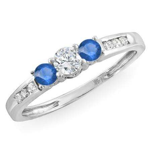 0.35 Carat (ctw) 18k White Gold Round Blue Sapphire & White Diamond Ladies 3 stone Engagement Bridal Ring 1/3 CT