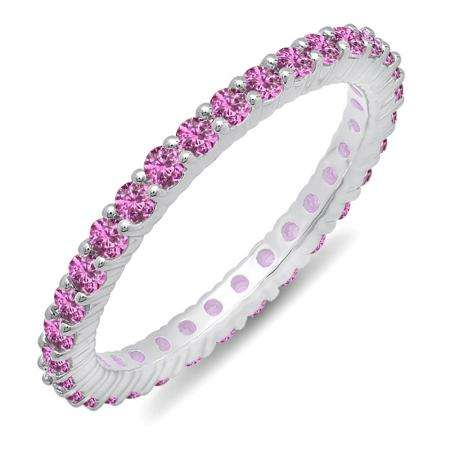 1.00 Carat (ctw) 10k White Gold Round Pink Sapphire Ladies Eternity Anniversary Stackable Ring Wedding Band 1 CT