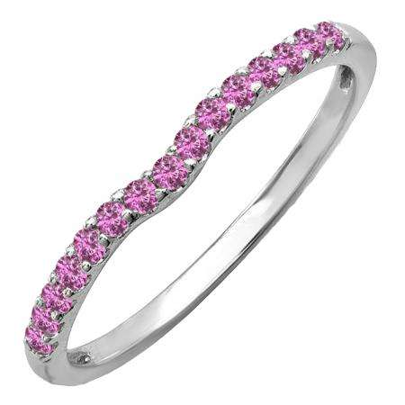 0.25 Carat (ctw) 14K White Gold Round Pink Sapphire Anniversary Wedding Ring Matching Band 1/4 CT