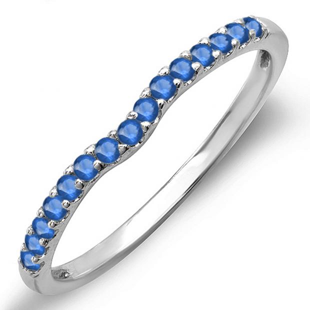 0.25 Carat (ctw) 14K White Gold Round Blue Sapphire Anniversary Wedding Ring Matching Band 1/4 CT