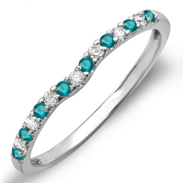 0.25 Carat (ctw) 14K White Gold Round Blue & White Diamond Anniversary Wedding Ring Matching Band 1/4 CT