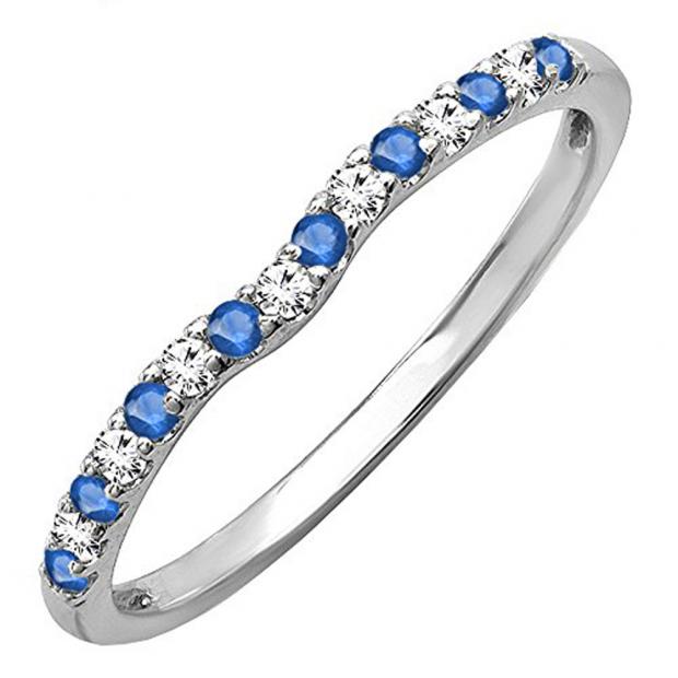 0.25 Carat (ctw) 14K White Gold Round Blue Sapphire & White Diamond Anniversary Wedding Ring Matching Band 1/4 CT