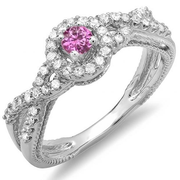 0.50 Carat (ctw) 14k White Gold Round Pink Sapphire And White Diamond Ladies Engagement Halo Style Swirl Split Shank Bridal Ring 1/2 CT