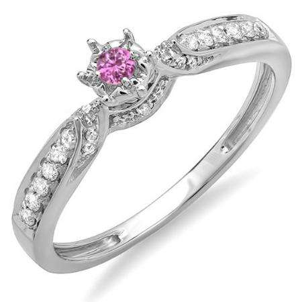 0.20 Carat (ctw) 10k White Gold Round Pink Sapphire And White Diamond Ladies Bridal Promise Split Shank Engagement Ring 1/5 CT