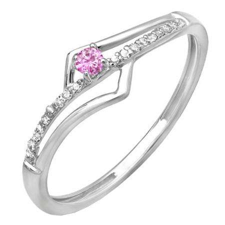 0.10 Carat (ctw) 10k White Gold Round Pink Sapphire And White Diamond Wave Ladies Bridal Promise Engagement Ring 1/10 CT