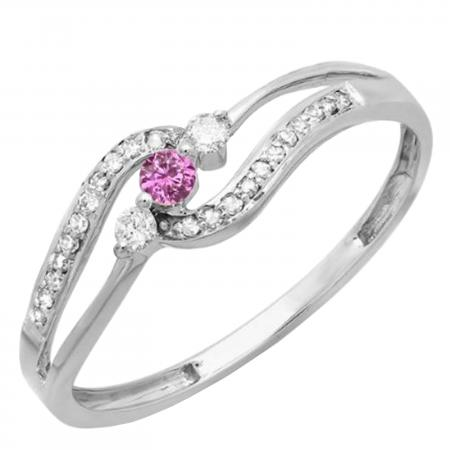 0.20 Carat (ctw) 10k White Gold Round Pink Sapphire And White Diamond Ladies 3 stone Engagement Promise Ring 1/5 CT