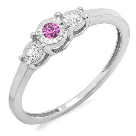 0.20 Carat (ctw) Sterling Silver Round Pink Sapphire And White Diamond Ladies 3 stone Engagement Promise Ring 1/5 CT
