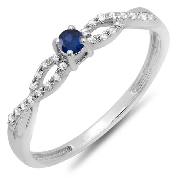 0.20 Carat (ctw) 18K White Gold Round Blue Sapphire And White Diamond Bridal Engagement Ring 1/5 CT