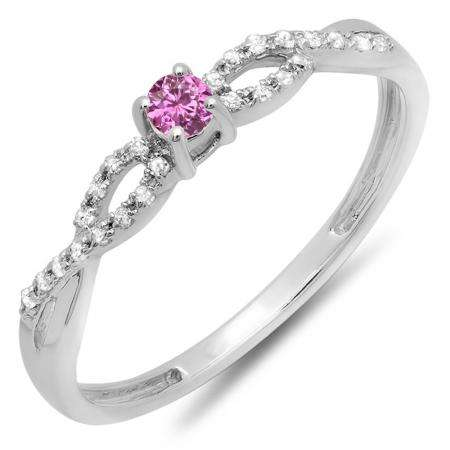 0.20 Carat (ctw) 10K White Gold Round Pink Sapphire And White Diamond Bridal Engagement Ring 1/5 CT