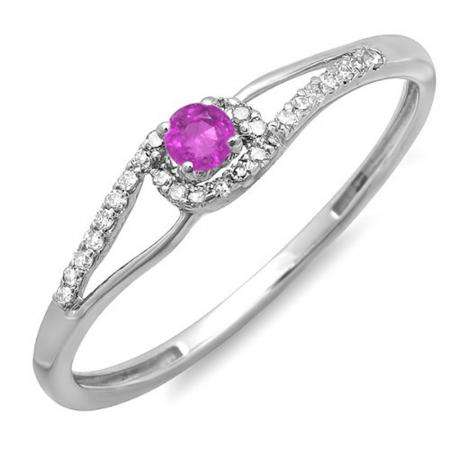 0.16 Carat (ctw) 10k White Gold Round Cut Pink Sapphire And White Diamond Ladies Engagement Bridal Promise Ring