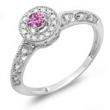 0.38 Carat (Ctw) 14k White Gold Round Pink Sapphire And White Diamond Bridal Halo Style Engagement Milgrain Ring