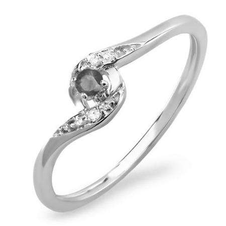 0.08 Carat (ctw) 10k White Gold Round White & Black Diamond Ladies Bridal Engagement Ring 1/10 CT