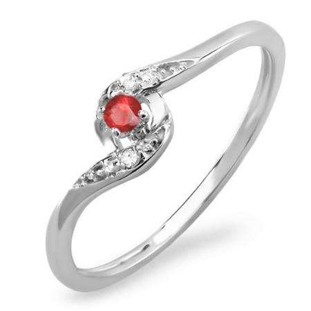 0.08 Carat (ctw) 14k White Gold Round White Diamond & Ruby Ladies Bridal Engagement Ring 1/10 CT