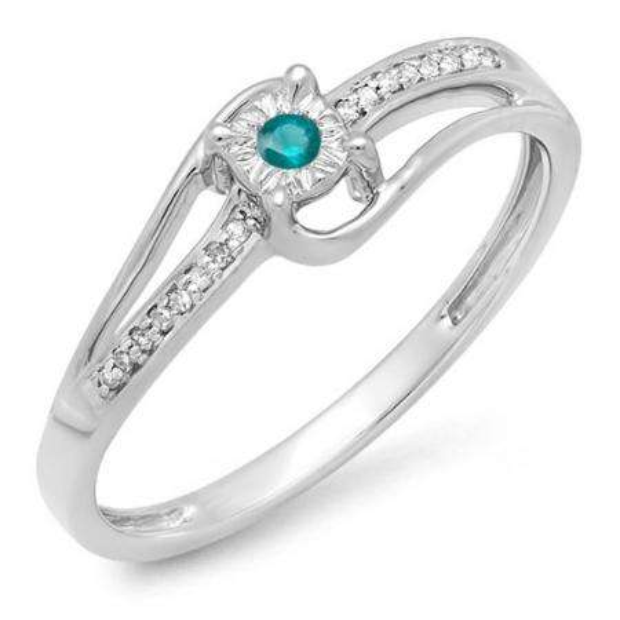 0.10 Carat (ctw) 10k White Gold Round White & Blue Diamond Wave Ladies Bridal Promise Engagement Ring 1/5 CT